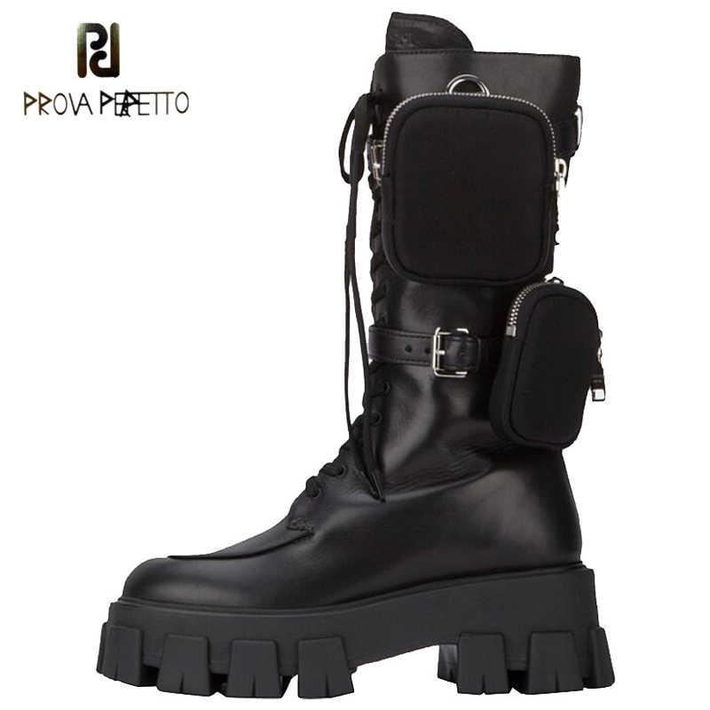 Nouveau automne hiver 2019 muffin plate-forme mi-jambe Martin bottes armée bottes cuir locomotive bottes à lacets bottines bottes de poche