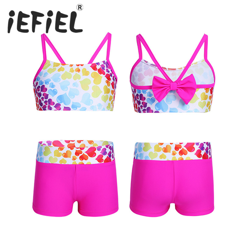 2PCS Cute Kids Girls Beachwear Tankini Heart-shaped Pattern Bowknot Back Swimsuit Swimwear Bathing Suit Set Tops with Bottoms