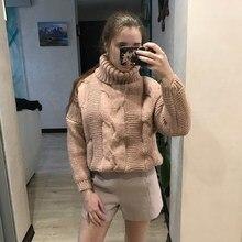 цена на 2019 Fall Winter Women Casual Solid Loose Sweater Female Long Sleeve Pullover Bat Sleeve Turtleneck Sweater