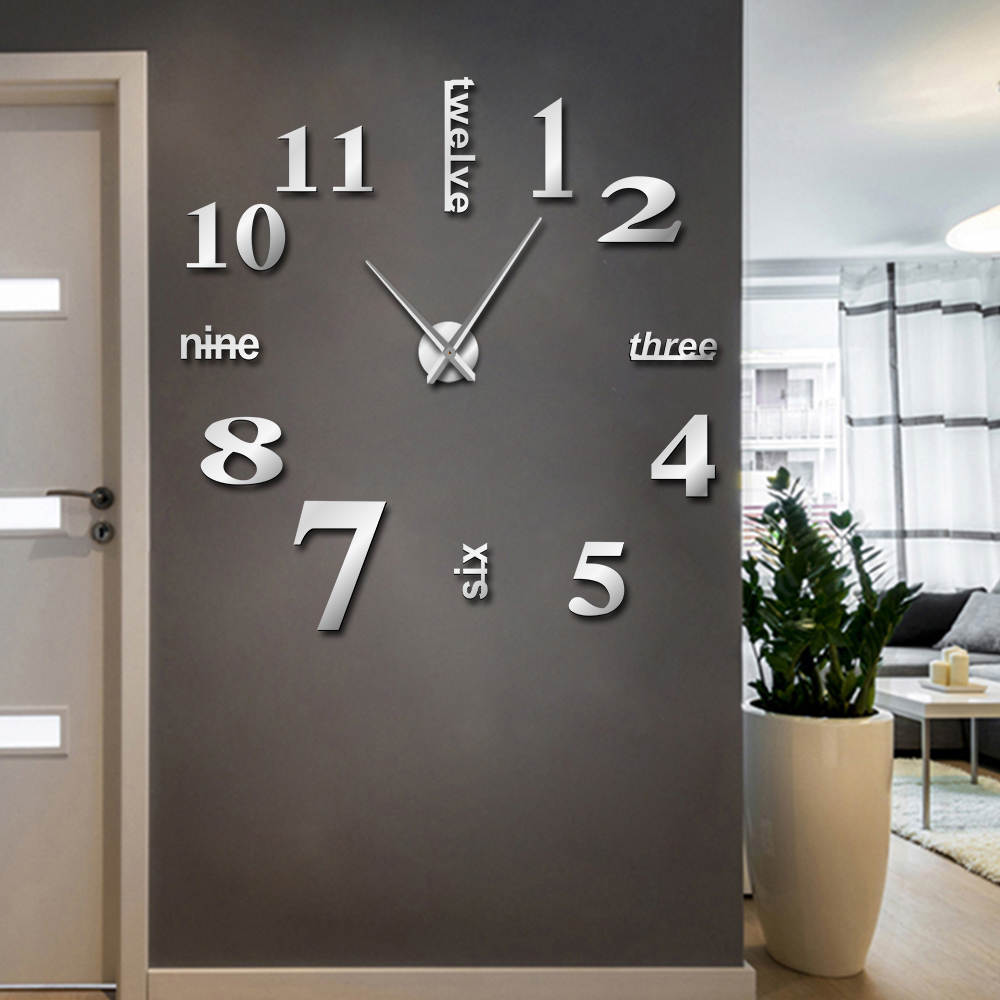 Decorative Clock Watch Modern DIY Mute  Wall Clock Home Decor Office 3D Mirror Surface Wall Sticker Clocks Giant Frameless