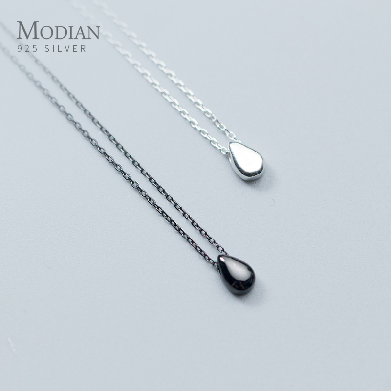 Modian 2020 New Mode 100% Real 925 Sterling Silver Water Drop Simple Fashion Necklace For Women Korean Style Fine  Jewelry