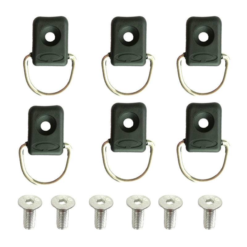 6PC Canoe Kayak D Rings Fitting Outfitting Fishing Rigging Bungee Kit Accessory With Screws