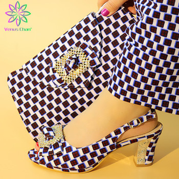 New Arrival African Women Matching Italian Shoe and Bag Set Decorated with Appliques Nigerian Shoes and Bag