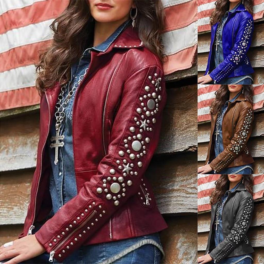 Женская куртка, осенне зимняя кожаная однотонная куртка на молнии с отворотом, пальто с длинными рукавами, короткая байкерская куртка, верхняя одежда #40|Куртки|   | АлиЭкспресс