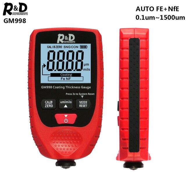 R & D GM998 rosso vernice di spessore di rivestimento calibro auto vernice placca di metallo di spessore di rivestimento tester del tester 0 1500um Fe & NFe probe