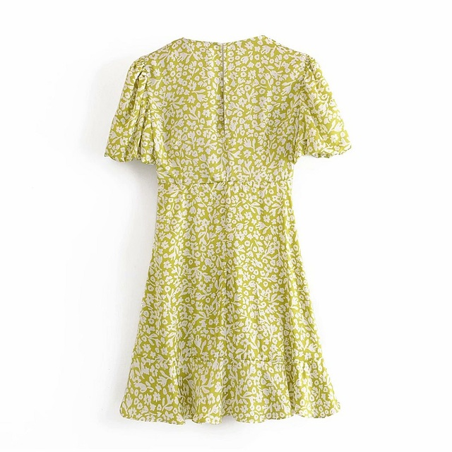 Za Lemon Green Print Mini Woman Dress Summer Puff Sleeve Floral Dresses V-neck Pleated Waist Casual Vintage Dress Women Ruffle 2