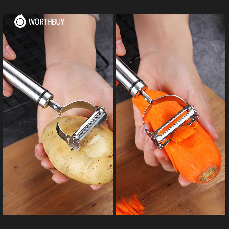 WORTHBUY 多機能フルーツ野菜の皮むき器ステンレス鋼ポテトピーラー野菜おろしカッターキッチンアクセサリー