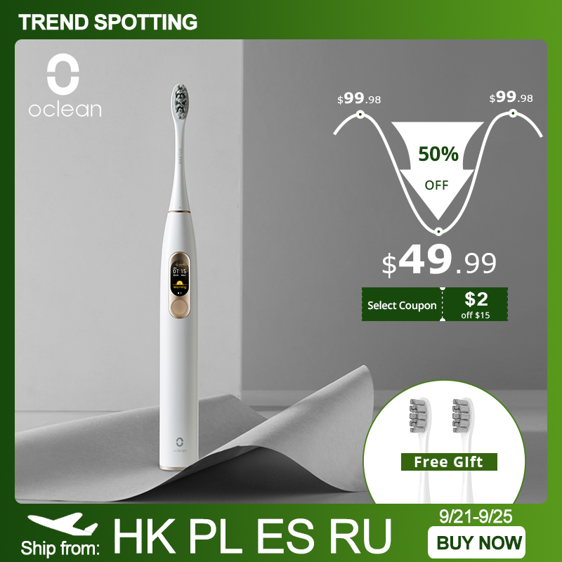 Oclean X Sonic Electric Toothbrush IPX7 Waterproof Four Brushing Modes Ultrasonic Fast Charging Tooth Brush With Touch Screen