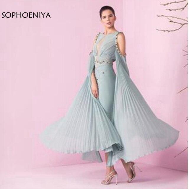 새로운 도착 발목 길이 쉬폰 이브닝 드레스 짧은 abendkleider 2020 abiye 두바이 아랍어 이브닝 드레스 vestido 정식 드레스