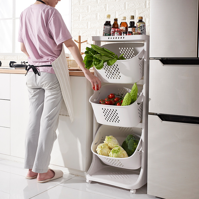 Kitchen Vegetable Storage Basket Storage Rack Plastic Oversize Living Room Rack Wheeled Laundry Basket Storage Holders & Racks
