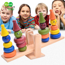 Color wooden clown balance children creative toys childrens circle stacking blocks early education educational