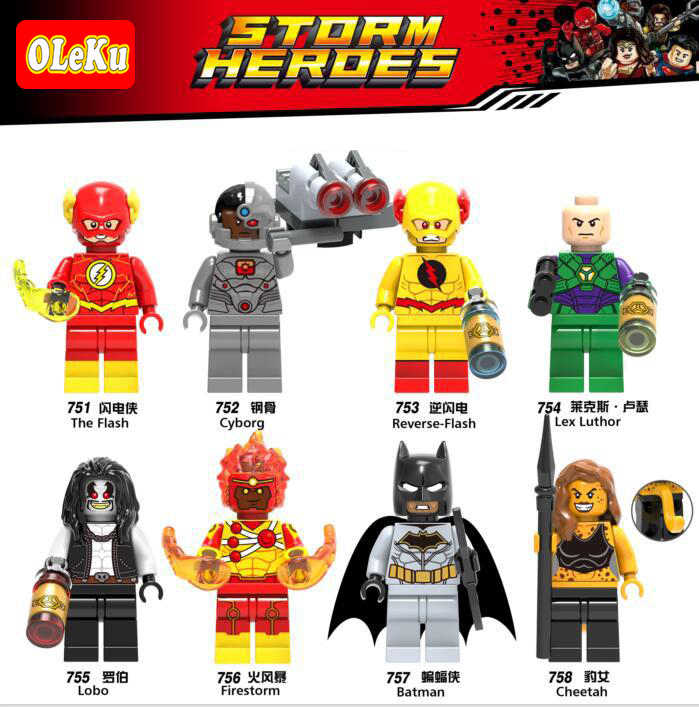 Marvel DC Il Flash Shazam Cyborg Batman Reverse Flash Spiderman Iron Man Building Blocks Figures Giocattoli Per I Bambini