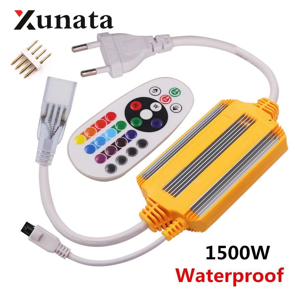 EU 220V Waterproof 24key IR remote controller 1500W 2500W For 5050 2835 RGB LED Strip Neon Light(China)