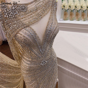 Image 2 - 穏やかな丘ゴールドシルバー v ネックのセクシーなイブニングドレス 2020 ビーズノースリーブスプリットマーメイドイブニングドレスリアルフォト DLA70301
