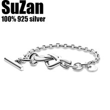 Suzan Authentic original logo 100% 925 sterling silver pan charm chain bracelet for women fashion luxury temperament DIY jewelry(China)