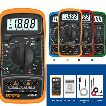 Portable Digital Multimeter Voltage Tester AC/DC Ammeter Volt Ohm Tester Meter Multimetro With Thermocouple LCD Backlight ^o^ image