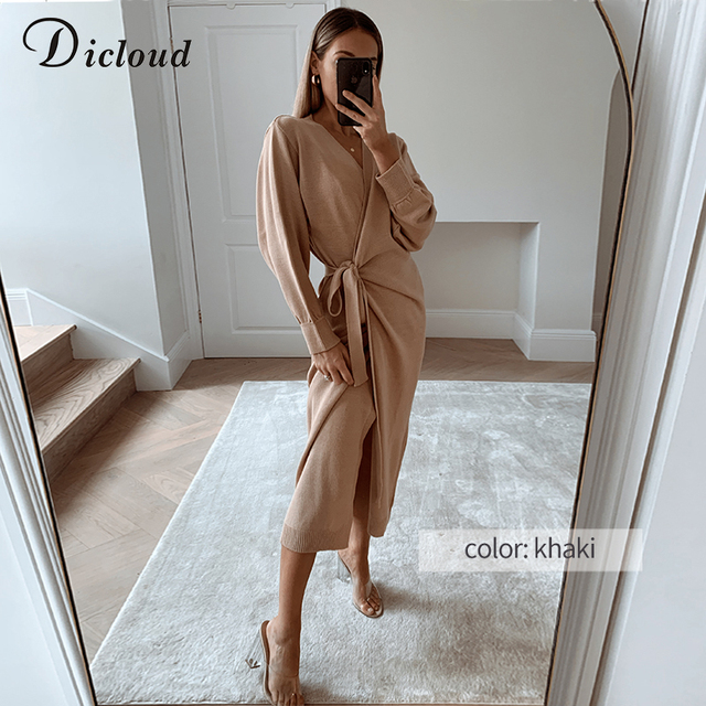 Knitted Wrap Dress-robe 3