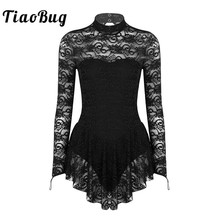 TiaoBug взрослый макет шеи с длинным рукавом мягкие кружевные балетные гимнастические леотарды женщины фигура Лед Платье конькобежное танцевальный костюм
