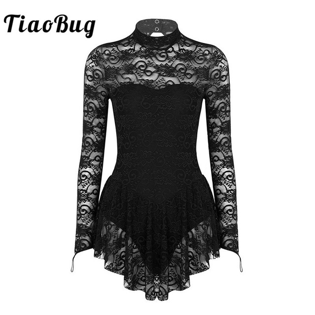 TiaoBug Adult Mock Neck Long Sleeve Soft Lace Ballet Gymnastics Leotard Women Figure Ice Skating Dress Competition Dance Costume