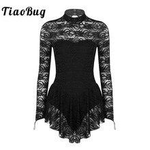 Женское балетное гимнастическое трико TiaoBug, мягкое кружевное платье с длинным рукавом и ложным воротником, платье для коньков на коньках, танцевальный костюм для взрослых