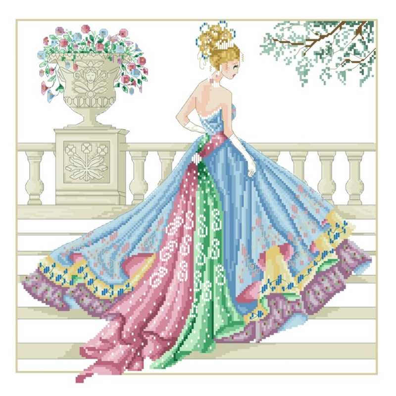 Princess ball gown cross stitch package 18ct 14ct 11ct white fabric cotton silk thread embroidery DIY handmade needlework
