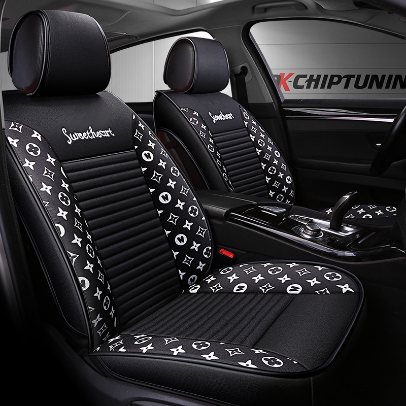 Cojín de asiento de automóvil de dibujos animados de lino nuevo estilo adecuado para Ford Mondeo BMW X1 fabricantes de almohadillas de asiento de coche venta directa D 94
