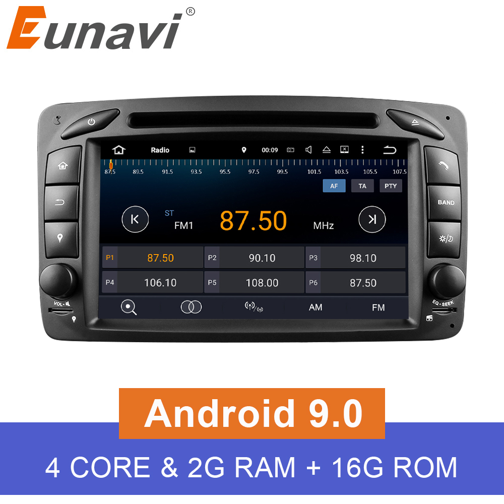 Eunavi 2 Din Android 9.0 Car DVD <font><b>Radio</b></font> Player car stereo gps <font><b>navi</b></font> For <font><b>Benz</b></font> <font><b>W203</b></font> W208 W209 W210 W463 Vito Viano with wifi bt swc image