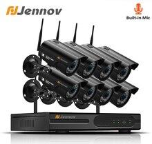 Jennov 8CH 1080P Không Dây Wifi Gia Camera An Ninh Hệ Thống Quan Sát Ngoài Trời Bộ Giám Sát Video Bộ Camera IP Wi Fi 2MP aduio Cam