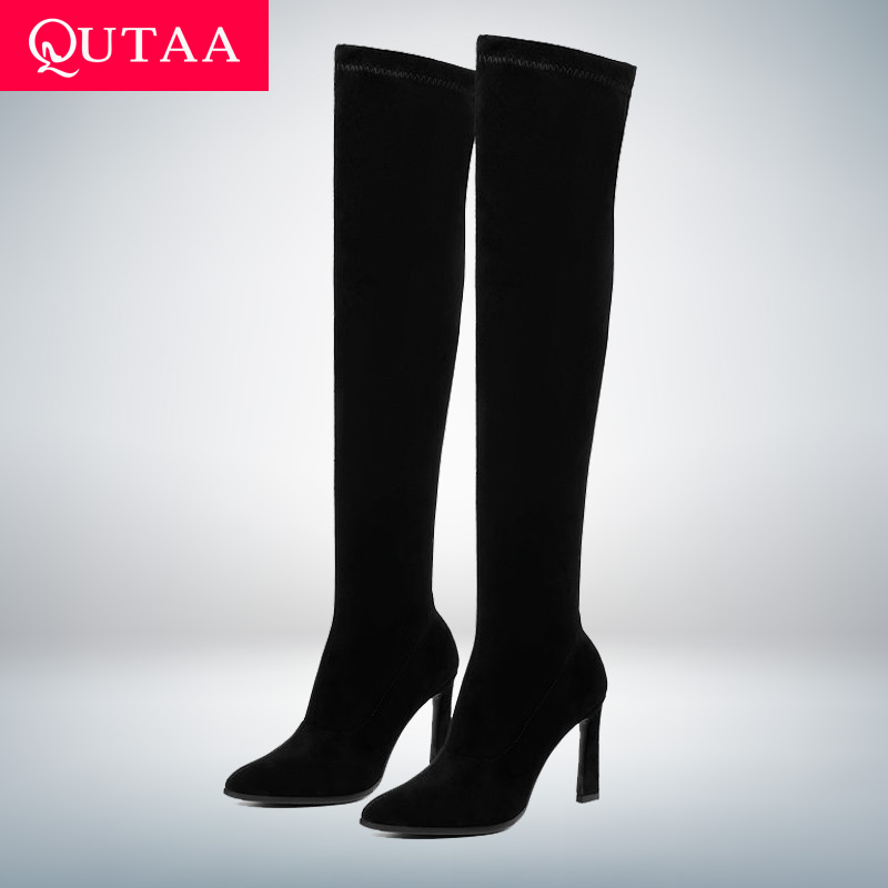 QUTAA 2020 High Heel Long Women Boots Autumn Fashion Women Shoes Sexy Pointed Toe Winter Over The Knee Woman Boots Size 34-43