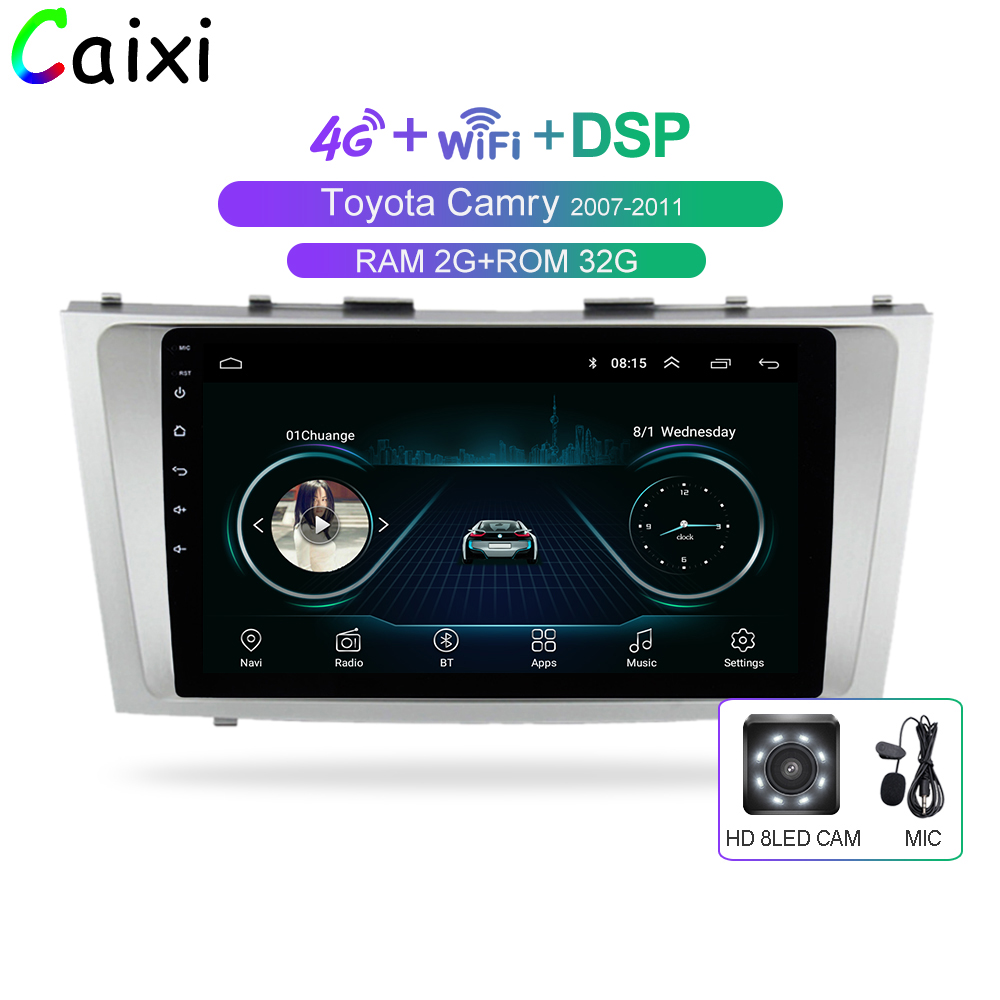 Auto Xi 2din 9 zoll 2.5D Android 8.1 AUTO DVD Radio Multimedia-Player Für Toyota Camry 2007 2008 2009 2010 2011 navigation gps