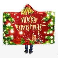 1Pc Merry Christmas Hooded Blanket Super Warm Wearable Plush Throw Blanket Red Snowman Gift Printed Cloak Hoodie Blankets