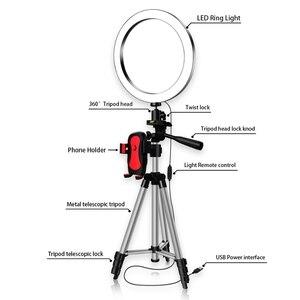Image 4 - למעלה עסקות LED Selfie טבעת אור עם טלפון מחזיק צילום Dimmable Youtube וידאו חי תמונה סטודיו אור USB תקע (16Cm)