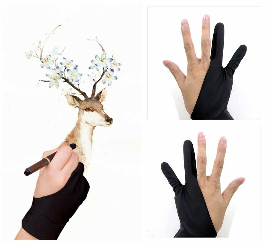 1Pc Artist Glove 2-fingers Drawing Gloves Anti-fouling for Graphic Tablet Smudge Stump Stick Pen Refill Right Left Hand
