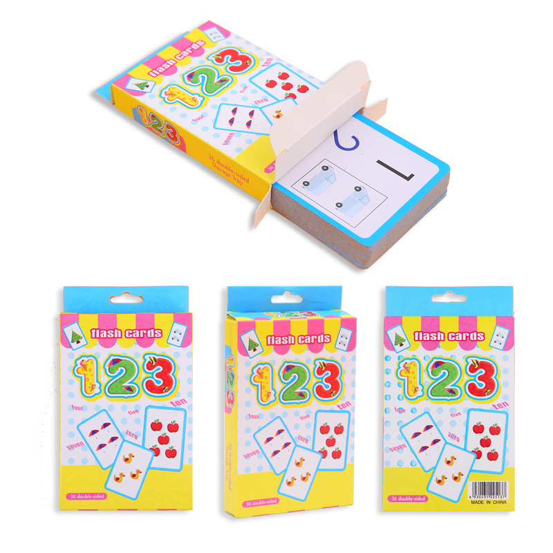 36pcs Handwritten Alphabet Flash Memory Card Number Toys For Children Early Educational Toy Kid Gift Number Cards For Toddlers