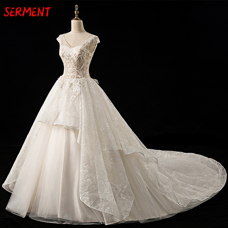 SERMENT Luxury Sleeveless Lace Wedding Dress 100cm Cathedral Trailing Suitable for Church