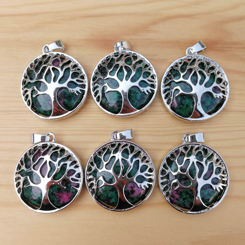 Wholesale fashion natural epidote stone alloy tree of life Pendants for jewelry accessories marking free shipping 12pcs/lot