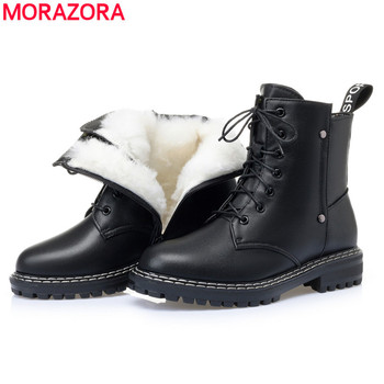 MORAZORA 2021 New Genuine leather snow boots women warm wool winter female shoes lace up fashion thick fur ankle - discount item  47% OFF Women's Shoes