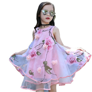Summer Girls Kids Flower Knee Sleeveless Dress Baby Children Clothes Infant Party Dresses 6 7 8 9 10 11 12 13 14 15 years 40(China)