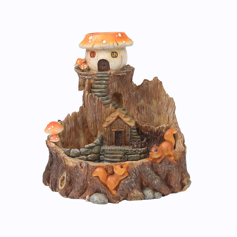 Kreative Kindheit Kaninchen Cartoon Baum Haus Harz Blumentopf Micro Landschaft Zubehör Blumentöpfe Pflanzer Ornamente - 5