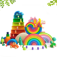 DIY 3D Wooden Toys Rainbow Building Blocks Rainbow Stacker Large Size Creative Montessori Educational Toys For Children Kids