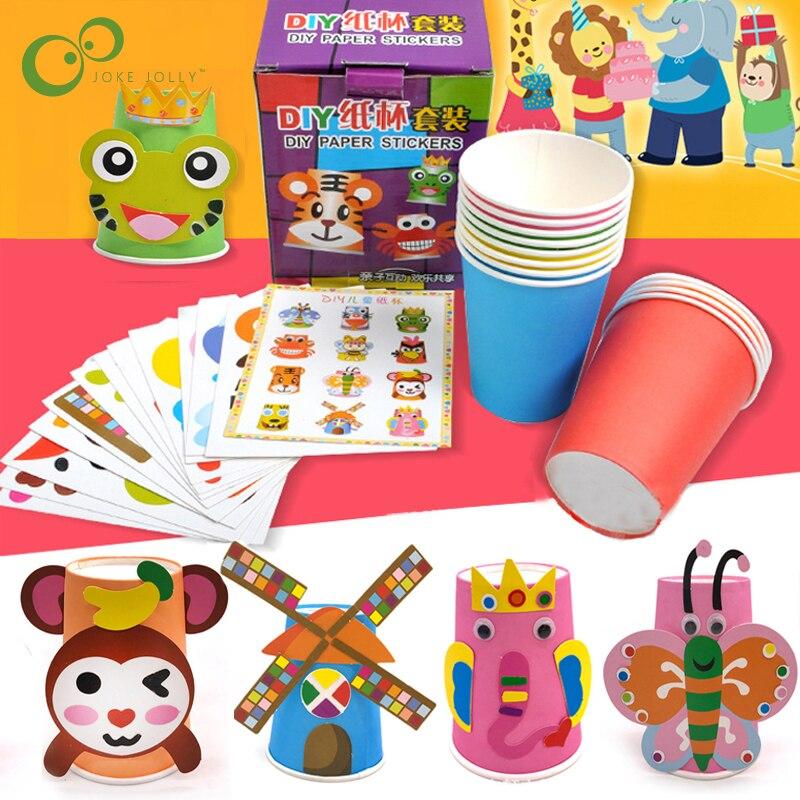 12pcs/set Kids Animals DIY handmade paper cups sticker material kit Children kindergarten school art craft Educational toys ZXH(China)