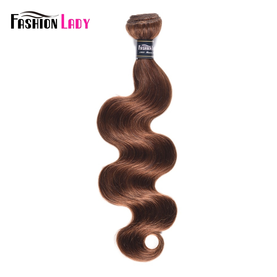 Fashion Lady Pre Colored Human Hair Bundles #4 Brown Brazilian Hair Bodywave Bundles 1/3/4 Bundle Per Pack Non-Remy Hair