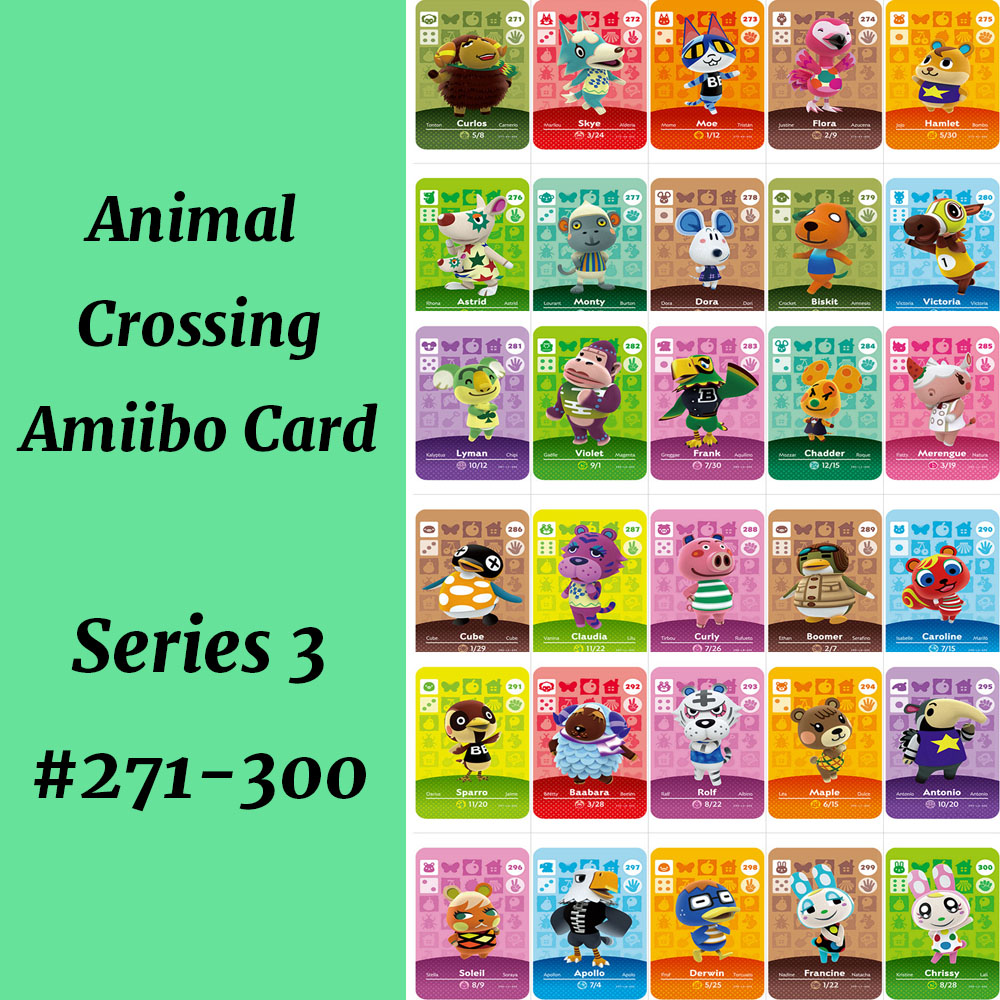 Animal Crossing Amiibo Card Series 3 (271 To 300) NS Amiibo Card Animal Crossing Card Amiibo Work For NS Games Villager Merengue