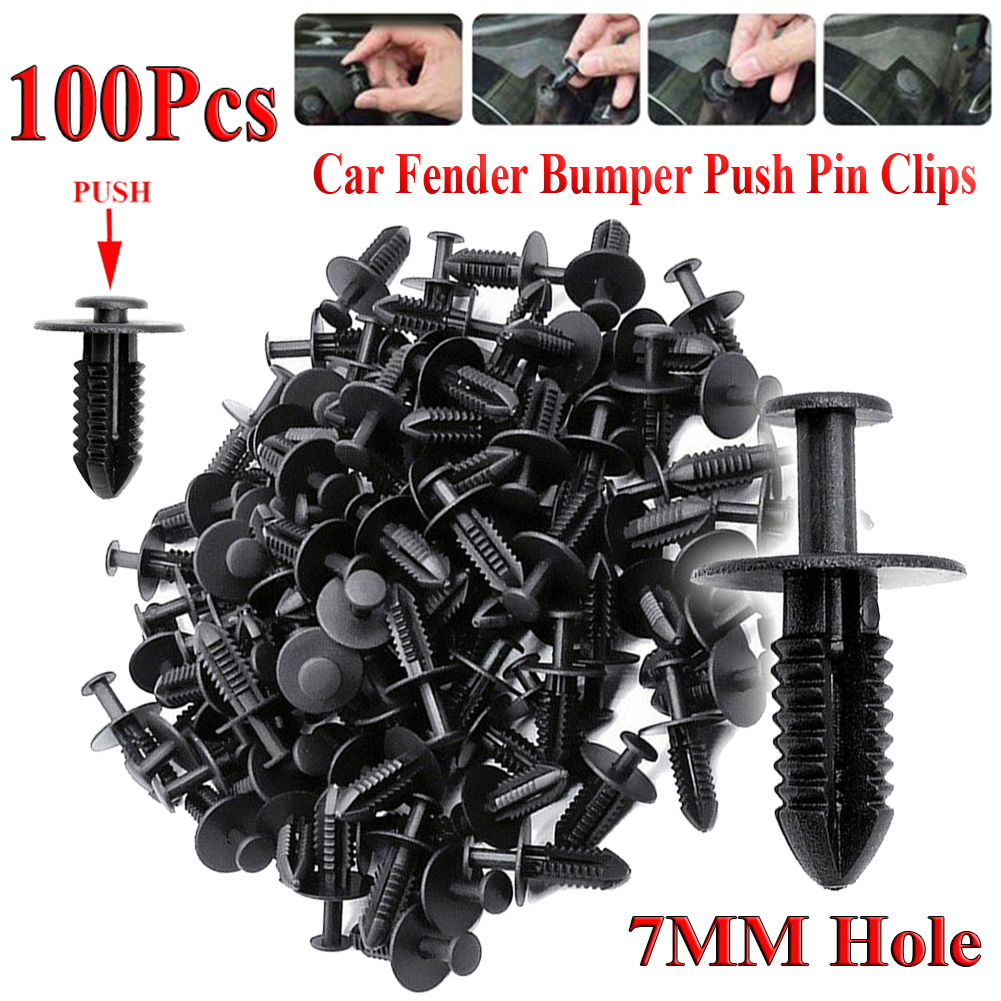 100Pcs 7mm Hole Dia Black Plastic Bumper Rivets Fastener Clips for Car Fender