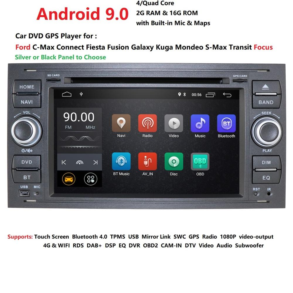 DSP IPS 2 din Android 9.0 voiture GPS pour Ford Mondeo s-max Focus C-MAX Galaxy Fiesta transit Fusion connecter lecteur DVD kuga