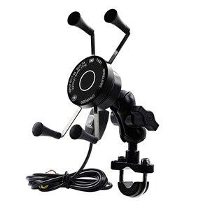 Telefone da motocicleta qc3.0 usb qi carregador de carregamento rápido sem fio 9-30v suporte 360 rotação da motocicleta bicicleta guiador