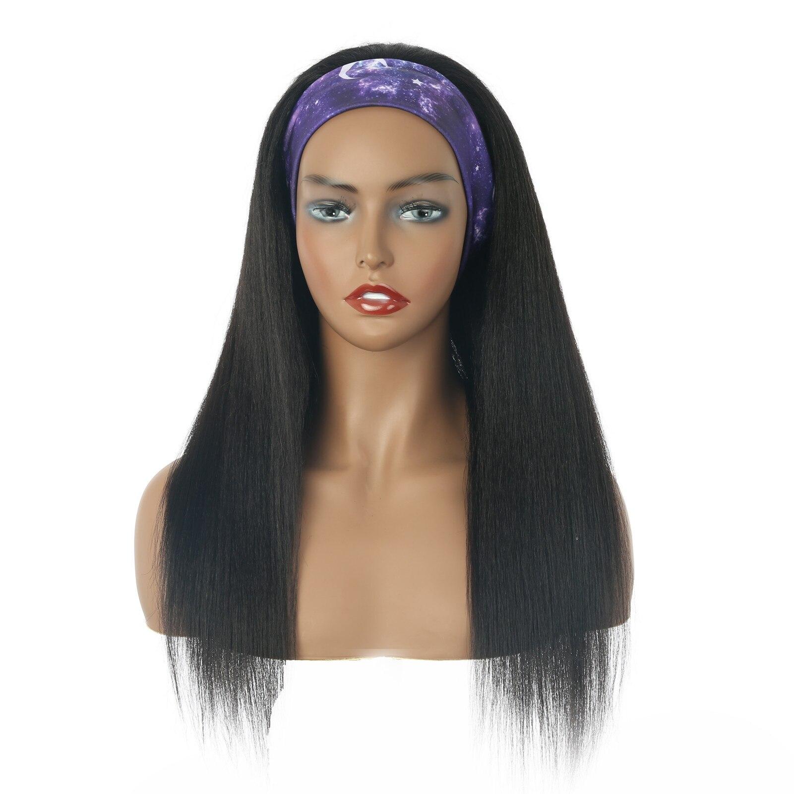 Headband Wig Glueless Yaki Kinky Straight Wig Headband Blend Human Hair Wigs For Women Nature Color Wear and Go 150% Dentiny