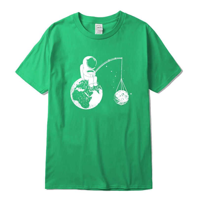 100% algodão casual manga curta design engraçado astronauta impressão t camisa dos homens o pescoço de malha confortável tecido de rua