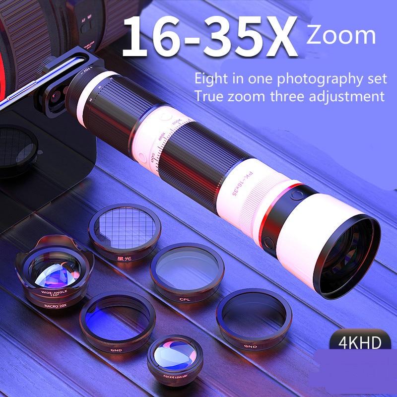 Lente móvil Universal Slr telescopio de enfoque largo 16 35x concierto artefacto de alta definición cámara de Zoom óptico gran angular Macro pez