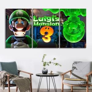 Image 3 - Luigis Mansion 3 Game Poster Canvas Schilderij Home Decor Wall Art 3 Panelen Mario Bros Luigi Cartoon Muur Foto Super smash Bros